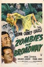 ZOMBIES ON BROADWAY Movie POSTER 27x40 Wally Brown Alan Carney Bela Lugosi Anne