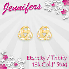 Gold Trinity Stud Earrings 18ct* Eternity Holy Celtic Knot Earring Jewellery