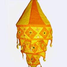 Lampe Hängelampe Stofflampe Lampion Lampenschirm aus Baumwolle gelb orange 3 s