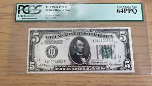 $5 1928 Federal Reserve Note Dallas  Fr#1950-K (KA Block)  PCGS 64PPQ