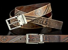 860037 PARRAMATTA EELS NRL TEAM BROWN LEATHER BELT UP TO 145CM LONG
