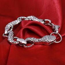 Silver Tone Metal Snake Chain Link Men's Bracelet