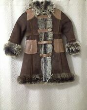 Dolce & Gabbana Junior Girls Brown Leather Shearling Coat Size 2 Retail $2,499