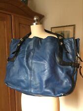 Francesco Biasia Denim Blue/Black Leather XL Expandable Handbag Tote