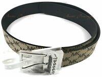 Michael Kors Size XL Reversible Black & Brown Monogram Silver Buckle Belt 556070