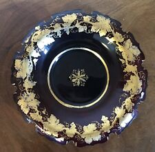 Antique Bohemian Ruby Red Cut Glass Plate with Gold Gilt Grapevine Design