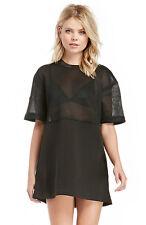 Cameo Black Acoustic Mesh Summer Tunic Stretch Mini Dress M 12