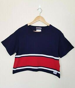 GHANDA CLOTHING Navy Blue Red & White Stripe Short Slv Crop Top T-Shirt - Size 8