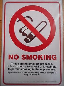 Self-Adhesive A4 No Smoking Compliant PVC Sign 210x297mm