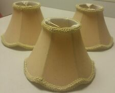 "SET 3 BEIGE CHANDELIER LAMP 4.5"" TALL CLIP ON SHADES BRAIDED TRIM 7"" WIDE MINT"