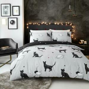 Astro Cat Grey/Black  Duvet Cover Bedding Set with Pillow Cases, All Sizes
