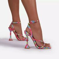 WOMENS BARELY THERE STILETTO HEELED ANKLE STRAP STRAPPY SANDALS HIGH HEELS SHOES