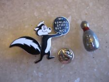 Lot 2 Vintage Bowling Pins / Pot Metal & Looney Tunes Enameled Pepe Le Pew