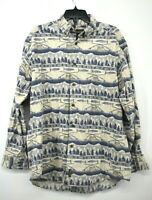 Woolrich Mens Blue Button Down Long Sleeve Fishing Print Casual Cotton Shirt L