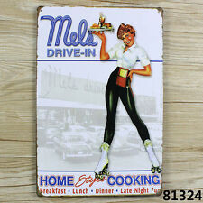 Mels Drive-In Home STYLE Cooking Pin Up Metal Tin Sign Fast Food Decor Advert