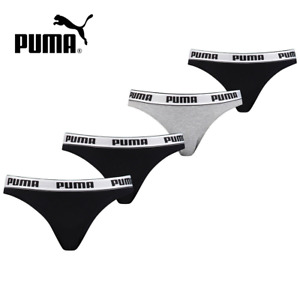 Puma Women's Girls Cotton Stretch Bikini 4 Pack Underwear New