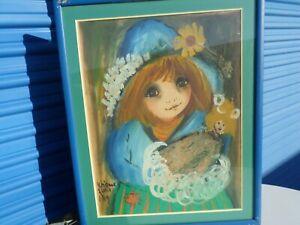Roger Etienne Big Eyes Original Art Girl with doll SIGNED 1969 Painting Paris