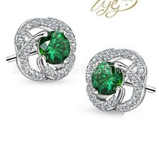 Sterling Silver Cubic Zirconia Green Jade Rose Flower Stud Earrings Gift Box S2