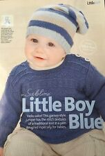 KNITTING PATTERN Baby Gansey Style Jumper Long Sleeve with Striped Hat Sublime