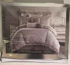 Waterford Couture Finest Italian Linens Ogee  QUEEN Duvet Cover Gray
