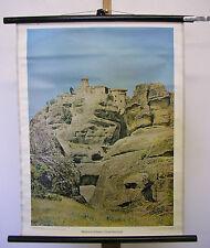 Belle ancienne la fresque METEORA Monastère grimper Grèce 55x71 Vintage ~ 1960