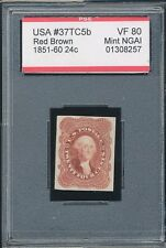 1851-1860 Trial Color Red Brown Scott# 37Tc5d Vf80 Mint Ngai 24¢ U.S. Stamp