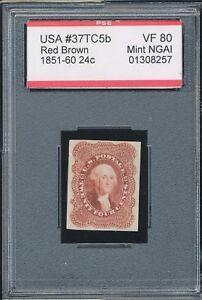 1851-1860 Trial Color Red Brown Scott# 37TC5d VF80 Mint NGAI 24¢ U.S. Stamp