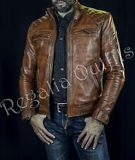 Mens Cafe Racer Vintage Balmains Inspired Brown Diamond Biker Leather Jacket