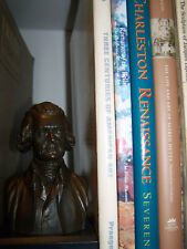 NICE OLDER CAST MATERIAL PAINTED BUST or STATUETTE OF THOMAS JEFFERSON ON PLINTH
