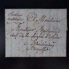 1807 LETTRE COVER SERVICE MILITAIRE MANUSCRIT DE VALTENCHEUX PR BOUVIGNY ET AIRE