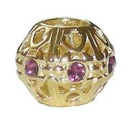*New* Rhona Sutton gold plated 925 sterling silver filigree bead - purple spacer