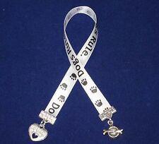 Dogs Rule Ribbon Bookmark w Heart/Pawprint/Best Friend + Dog Dish/Bone Charms