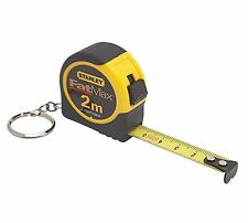 2x Stanley FatMax KEYCHAIN TAPE MEASURE 2m w/ Slide Lock & True Zero End Hook