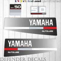 Yamaha 50 HP AUTOLUBE outboard engine decal sticker Set Kit reproduction Black