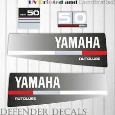 Yamaha 50 HP AUTOLUBE outboard engine decal sticker Set Kit reproduction Black