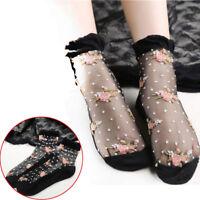 Women Lady FLOWER Ultrathin Transparent Crystal Silk Lace Elastic Short Socks
