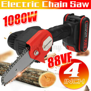 88V 4 inch Electric Cordless One-Hand Saw Chain Saw Woodworking W/ 1/2 Batteries