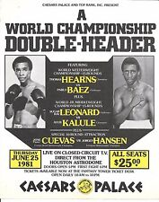 Sugar Ray Leonard  Ayub Kalule Thomas Hearns  Pablo  Baez  Flyer 1981  Boxing