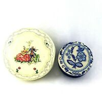 LOT Vtg DAHER Victorian Floral Tin Box and Fetco Needle Work Fabric Trinket Box*