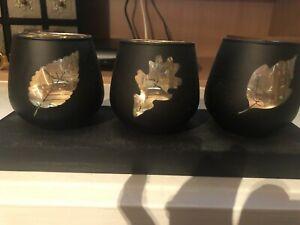 Dark Brown & Gold Leaf Design Glass Three Tealight Holder On Plinth