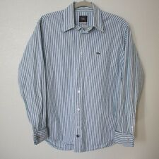 NIKE Striped Blue And White Long Sleeve Button Down Shirt, Size M