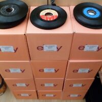 """Box of 90+ 7"""" singles records 45rpm 1960's-1990's mixed CASH/COLLECTION ONLY B/C"""
