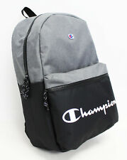 "NWT CHAMPION Men's Script Logo Black Gray Padded 15"" Laptop Large Backpack Bag"