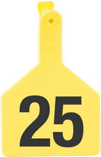 """Z-TAG COW TAG ONE PIECE 3"""" W x 4-1/2"""" H Hot-Stamped Ear Tags #26-50 YELLOW 25ct"""