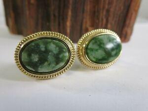 Vintage Irish Green Connemara Gold Tone Mens Cufflinks RP22
