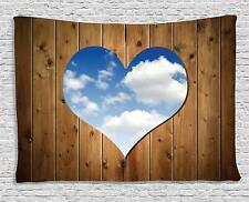 """Ambesonne  Love Decor Collection Tapestry Wooden Door With Heart Clouds 80""""x60"""""""
