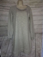 Paraphrase Sweater Dress Size Small Tunic Oversized Gray Modest Jumper Jeweled
