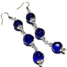 Very Long Blue Bead Earrings Pierced or Non-Pierced Clip Stud or 925 Silver UK