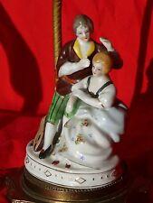 Vintage WW2 Era Meissen Style PORCELAIN FIGURINE TABLE LAMP Minstrel & Lady VG