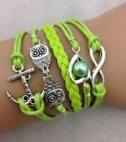 NEW Infinity Owl Heart Anchor Pearl Leather Charm Bracelet plated Silver DIY AA